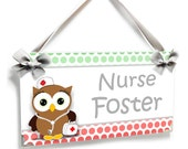 personalized brown owl school nurse office hanging door sign in cpral mint accents - P2492