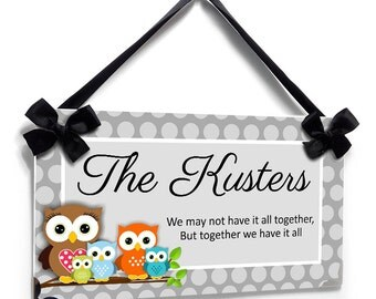custom family est sign - owls themed personalized name signs - mom and sons all boys - fornt door signs - P498