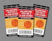 Basketball Valentine Cards sports kids boys  Printable Classroom PDF