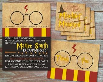 Harry Potter Birthday Invitation Set