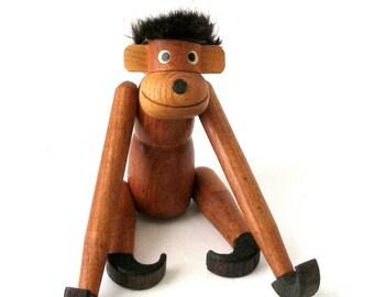 Vtg Teak Wood HANGING MONKEY 10in Tall Articulated Toy Mid Century Danish Modern Arne Basse Zoo Line Kay Bojesen Eames Era