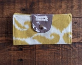 Gold Ikat with Brown Birds, Lime Green Blossoms and Blue Gingham