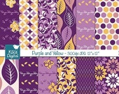 70% Sale Purple and Yellow Digital Papers - Scrapbooking, card design, invitations, background, paper crafts, web design - INSTANT DOWNLOAD