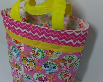 Handmade candy skulls quilted tote bag in pink Day of the Dead fabric