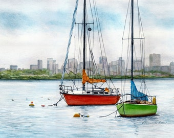 Boats in Boston Harbor Watercolor Reproduction