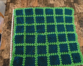 Crochet Turquoise and green Baby blanket FREE SHIPPING!!