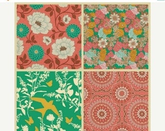 ON SALE NOW Joel Dewberry Fabric - 4 Fat Quarter Bundle Bungalow in Coral and Emerald