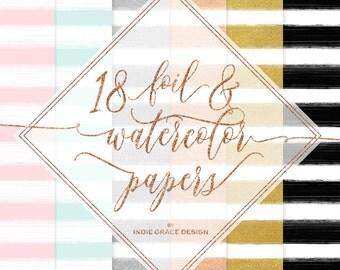 Digital Watercolor Papers - Digital Foil Papers - Watercolor Stripe Papers - Gold Foil Papers by Indie Grace Design
