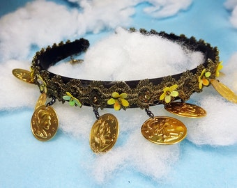 Bohemian Coin Headband, Embroidered Flower Headband, womens flower headband, floral headband, bridesmaid headband, boho Coin headpiece