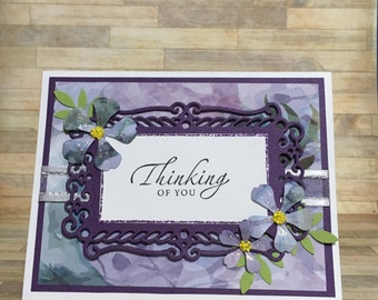 Thinking of you card, handmade card, greeting card, all occasion card, floral card, sympathy card