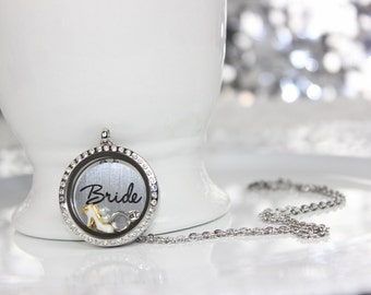 Bride Wedding Floating Locket Rhinestone Charm Necklace Bridal Gift, Wedding Gift, Floating Locket Wedding Necklace