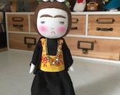 Frida Kahlo handmade grumpy doll