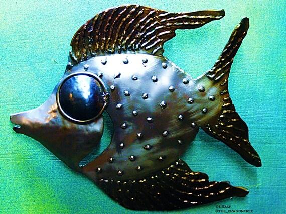art gift under 50, art gift 50, bathroom wall art, stairs wall decor, game room wall decor, 3D wall art, fish metal sculpture, metal decor