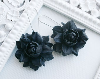 Dark blue rose leather earrings