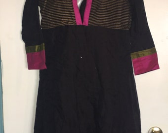Black Pink and Gold tunic