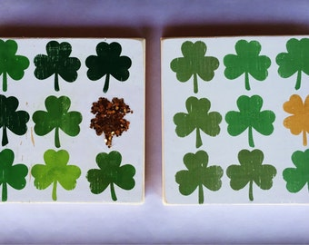 "7x7""-Lucky Shamrock-Four Leaf Clover-Glitter-Gold-St. Patty's Day-Green-Rustic-Wood Sign"