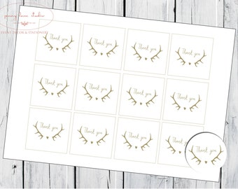 INSTANT DOWNLOAD 2 inch Thank you tags - circle or square, Boho Antler Love, Wedding, Engagement, Birthday,