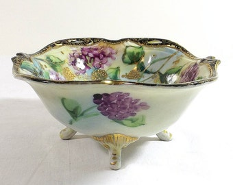 Morimura Bros. NIPPON Footed Bowl with Moriage ca. 1891 Maple Leaf Mark
