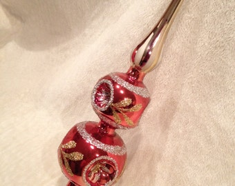 Vintage Mercury Glass Triple Indent Tree Topper in Red, Silver and Gold