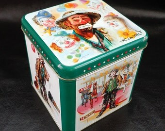 Clown illustration tin, vintage white and green cookie or candy tin, 90s, circus art