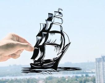 Ship - Handmade Original Paper Cut Home Decor Gift - UNFRAMED