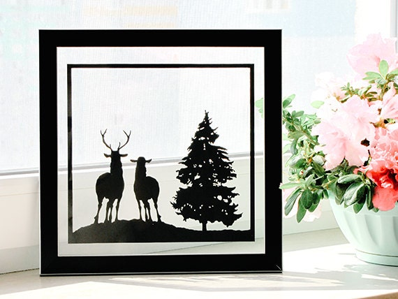 Deer Couple - Handmade First Wedding Anniversary Personalized Gift - UNFRAMED