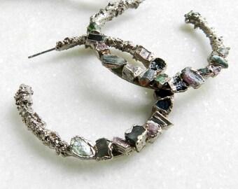 tourmaline earrings, silver earrings, druzy earrings, raw tourmaline, tourmaline crystal, tourmaline hoops, hoop earrings, silver hoops