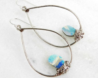 fire opal earrings, boulder opal, fire opal hoops, silver earrings, silver hoops, statement earrings, sterling silver, opal earrings
