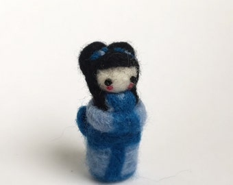 Needle felted geisha girl hand felted merino wool miniature collectable handmade felted art