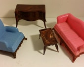 Vintage Renwal Dollhouse Furniture -- Living Room Couch, Chair,Table and Sideboard