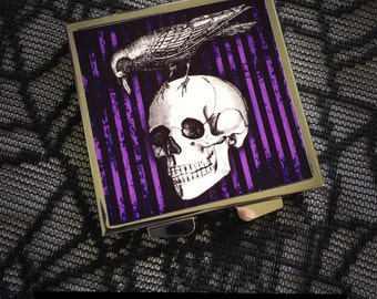 Raven Skull compact mirror