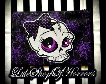S A L E Big Eyed Skull Cosmetic Bag