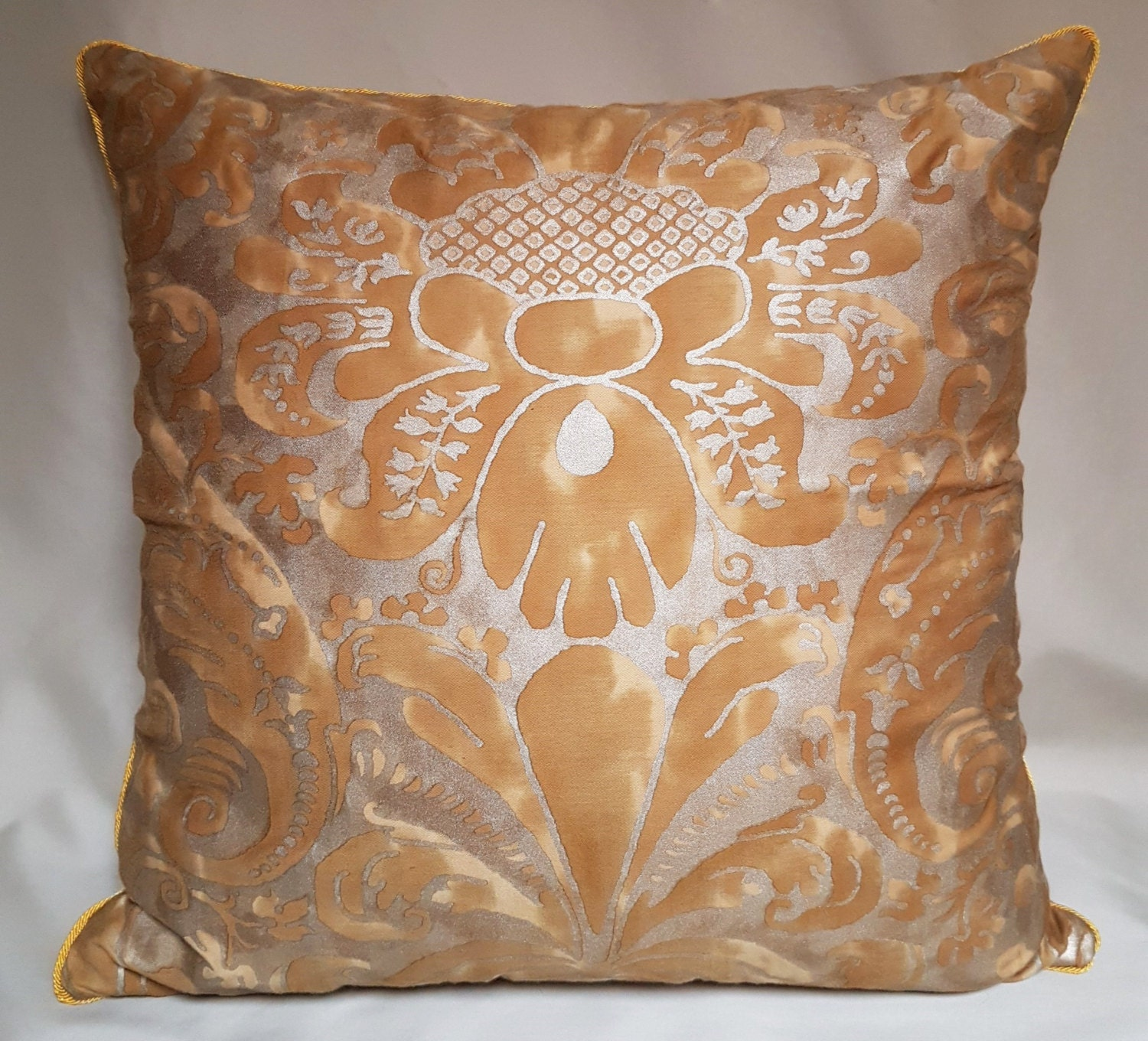Throw Pillow Cover Fabric : Throw Pillow Cushion Cover in Fortuny Fabric Gold Museum