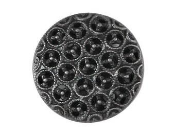2 Delicate Grid Metal Buttons Antique Nickel Color