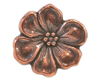 6  TierraCast Apple Blossom 5/8 inch ( 15 mm ) Copper Plated Pewter Buttons