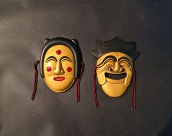 Set Of Small Vintage Wood Carved and Painted Masks