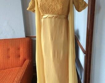 1950s Ochre Yellow Chiffon Gown sz m