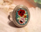 1940's Woodland Rustic Teal Red Micro Mosaic Ring, 800 Silver