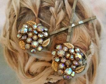 Decorative Hair Pins Rhinestone 1950's Weiss Ice Gold AB Aurora Borealis Blossom Flower Czech Filigree Bridal