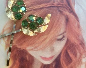 Decorative Bridal Green Lisner Hair Pins 1950 1960 Regency Grecian Goddess Wedding Bobby Pins