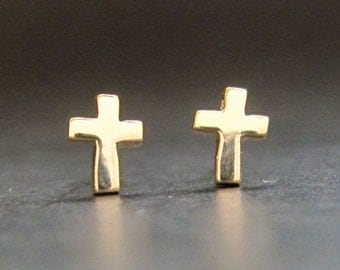 Tiny gold Cross earring(s), solid 14k yellow or White gold cross studs, recycled gold, made in USA