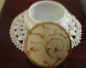 Vintage MATSON powder round box --ornate lid--gold tone trim