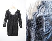 Vintage 1980s Black Lace Fitted Bandage Mini Dress / Party / Sheer / Cutout