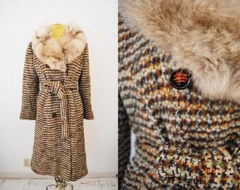 Vintage 1970s Wool Knit Silver Fox Fur Collar Coat Jacket Trench Tie Waist