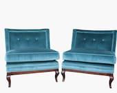 Pair of Mid Century Hollywood Regency Blue Velvet Slipper Chairs