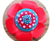 Large,red and turquoise, polka dot, flower button, brooch