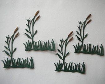 4 Cattail Die Cut Embellishments for Scrapbooking & Card Making