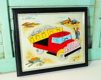 Vintage Magnetic Dump Truck Puzzle 1962 A Child Guidance Toy