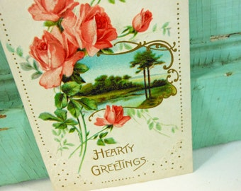 Antique Hearty Greetings Postcard Pink Roses and Lake Scene 1910