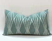 Lumbar pillow cover in Teal blue Modern geometric. Robert Allen Design pillow cover home decor accent. Handcut Shapes Rain